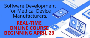 Software Medical Devices on a blue background with red text announcing the Online Course Begins on April 28